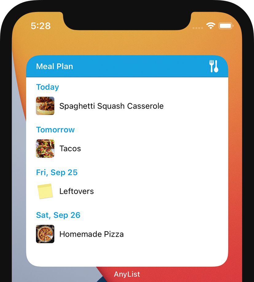 AnyList for iOS - Large Meal Plan Widget