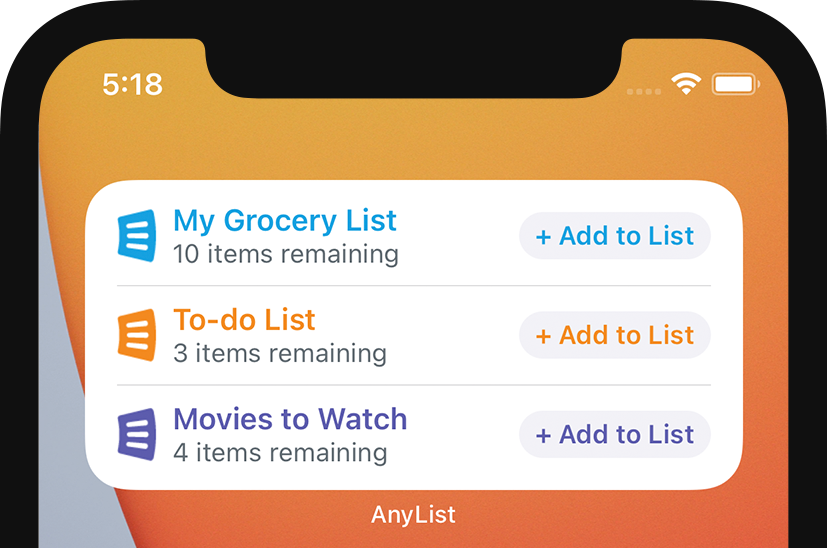 AnyList for iOS - Multiple Lists Widget