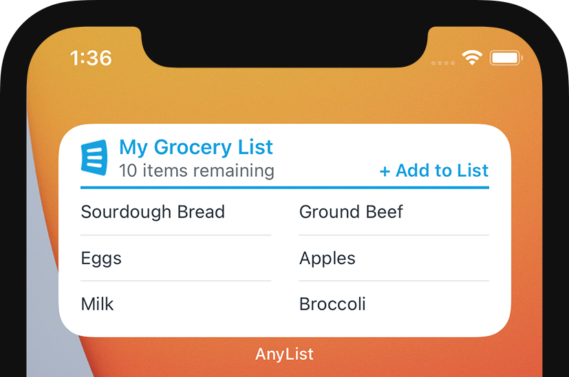 AnyList for iOS - Single List Widget