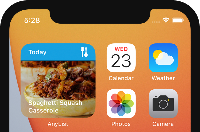 AnyList for iOS - Small Meal Plan Widget