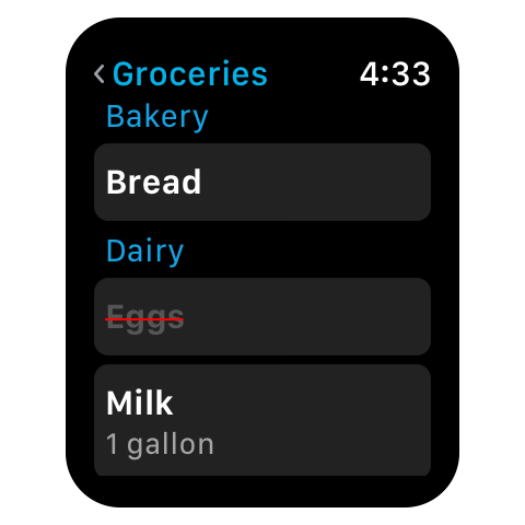 AnyList for Apple Watch - List screen