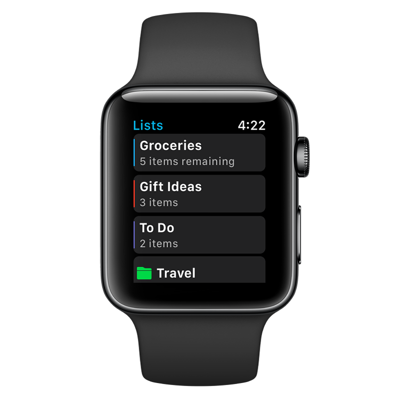 AnyList for Apple Watch - Lists screen
